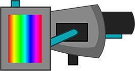 A grey weapon with a black barrel, cyan tubing and a rainbow gradient representing the tank