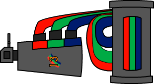 A grey weapon with a muzzle break and RGB tubing hooked up to a tank with RGB components