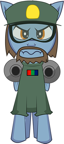 High Guard. A bearded blue pony with brown hair and a green outfit