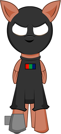 Pegapol. A brown pony with a black mask and outfit