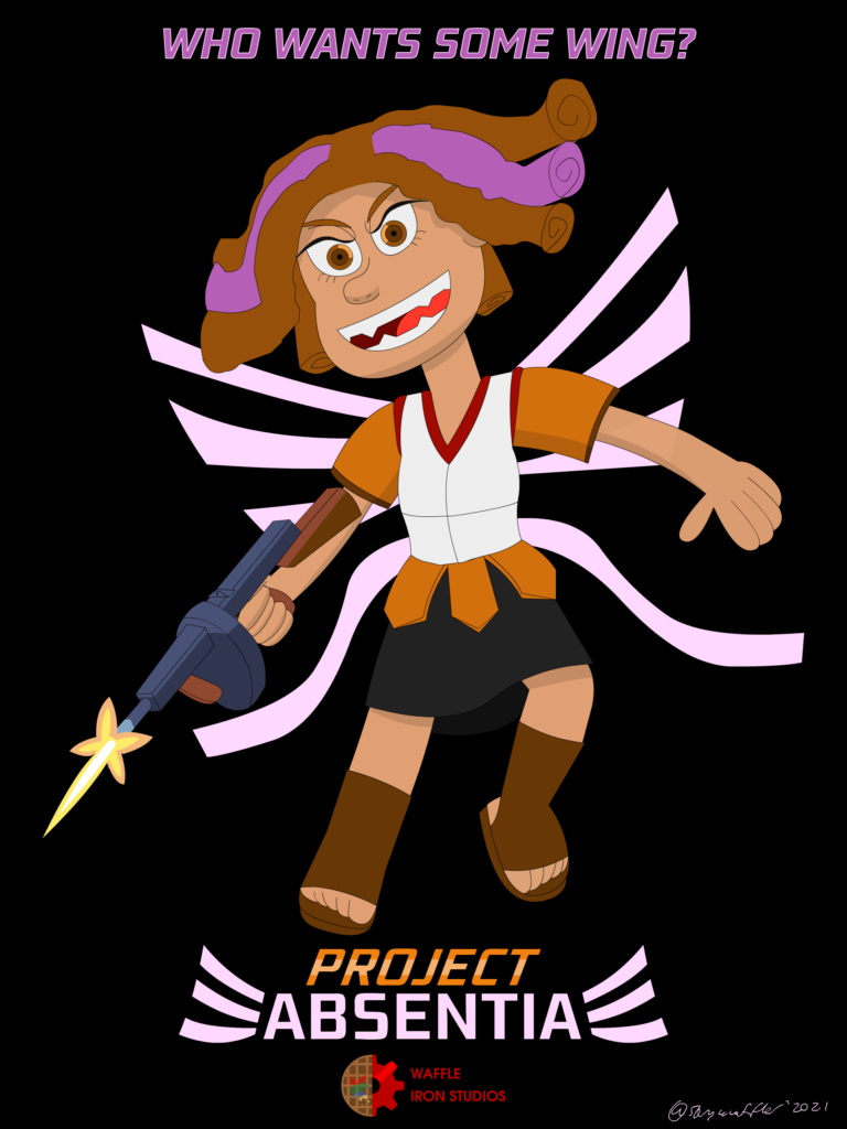 Project Absentia Poster. It displays Abby - an angel with brown and purple curly hair, and ribbon-like wings. She is wielding a Thompson submachine gun.