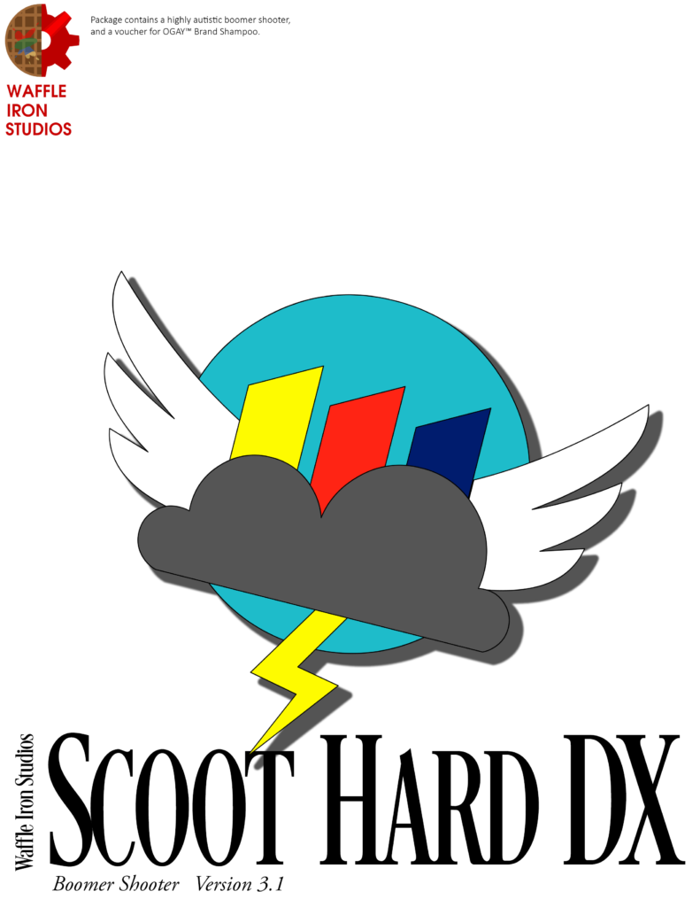 A parody of the Windows NT box with the Cloudsdale Weather Corporation logo and Scoot Hard DX at the bottom, and the Waffle Iron Studios logo in the upper-left corner