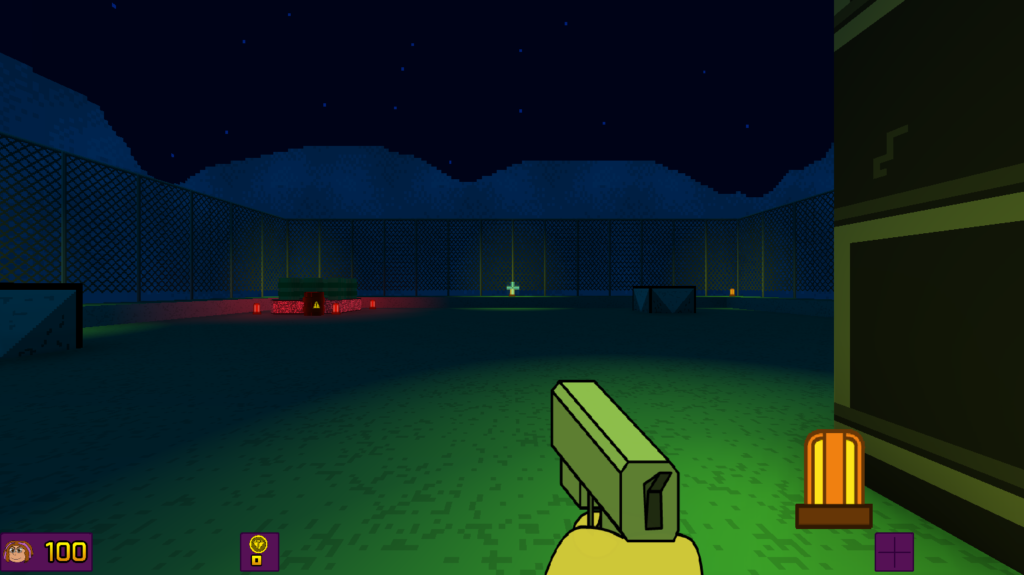 The new opening to E1M1, showing a rooftop and a bunch of explosive barrels.