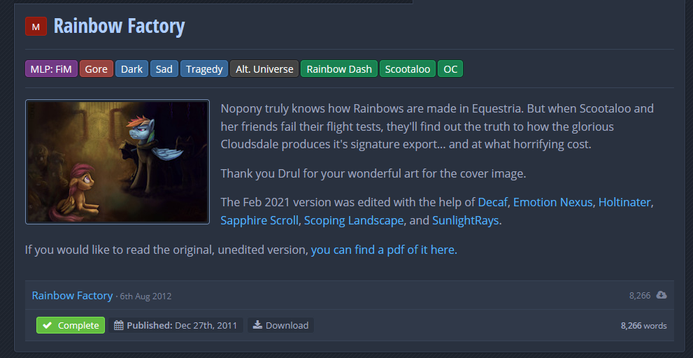 Rainbow Factory's page on FimFiction, clearly showing the tags involved and a rating of M for mature