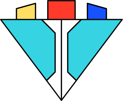The Orkan Corporation logo, which is a blue cyan upside-down triangle, with a white I-like shape in the middle, and a yellow, red and blue parts on the top